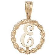 9ct Gold Round rope edged Initial letter E pendant 0.8g